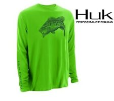 Huk Performance Large Mouth Bass Logo Long Sleeve Neon Green Fishing Shirt XXL