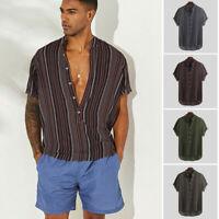 Men Summer Striped Boho T-Shirt Breathable Short Sleeve Casual Henley Shirt Top