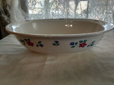 "PFALTZGRAFF BONNIE BRAE 10 3/4"" OVAL VEGETABLE SERVING BOWL BLUE, PINK FLOWERS"