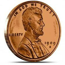 One  (1) Ounce Lincoln Wheat Cent - Beautiful - Proof Like Copper Art Round UNC