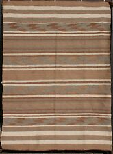 "1910's C.N. Cotton Large Navajo Crystal Natural Wool Banded Blanket 90"" x 65"""