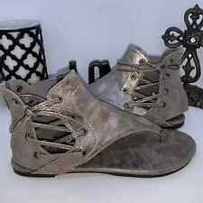 PEWTER silver gladiator ankle high bootie sandal Size 8 New in Box Boho Bohemian