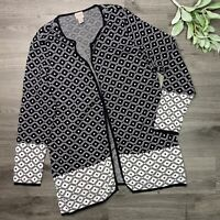 CHICOS Size 2 (L/12) Black Easywear Open Front Top Cardigan Knit Lightweight