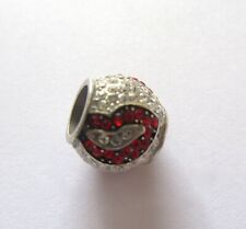 Brighton Kiss Lips  Spacer Charm silver color- Clear & red crystals