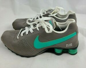 Mens Nike Shox Deliver Size 6 Gray Teal Leather Sneakers Tennis Shoes
