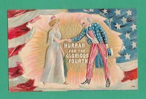 VINTAGE JULY 4TH PATRIOTIC POSTCARD UNCLE SAM LADY LIBERTY SHAKE HANDS FLAG