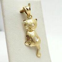 New 14K Gold Articulated Moving Kitty Cat Feline Heart Charm Pendant 1.4 Gr