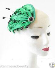 Green Black Feather Fascinator Headpiece Hair Clip Races Vintage Hat Silver R75