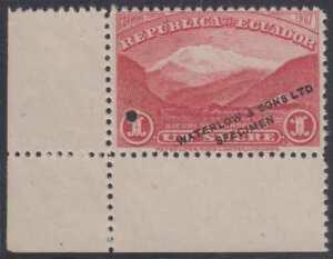 "ECUADOR 1908 GUAYAQUIL-QUITO RAILROAD Sc 180 TOP VALUE PERF PROOF + ""SPECIMEN"""