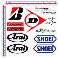 Adesivi sticker sponsor shoei arai bridgestone dunlop alpinestar print pvc 13 pz