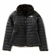 The North Face Girl's Reversible Mossmud Swirl Jacket TNF BLACK SIZE S Small 7/8