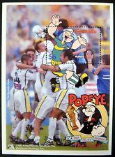 2002 Mnh Grenada Popeye Stamps Souvenir Sheet Soccer Animated Cartoon Comic