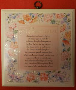 """A GRANDMOTHER IS LOVE"" HALLMARK WOOD PLAQUE BLUE & PINK FLORAL GRANDMA POEM"