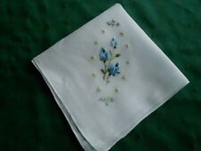 Antique Hankie, White Linen With Blue Rose Bud Embroidery, Circa1940