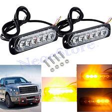 2X 6LED Amber Strobe Flashing Recovery Lights Car Truck Bright Breakdown 12v 24v