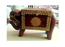 Wooden Elephant Box Old Unique Design Brass Fitted Indian Home Decor Art