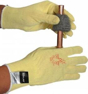 made with KEVLAR  YELLOW KNIT LIGHTWEIGHT AMBIDEXTROUS WORK GLOVES