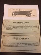 Moore Motor Vehicle Company Set Advertising Card and Stock Subscription Form