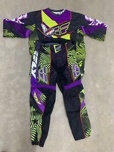 Fly F-16 Black/Purple Sz 32 Ltd Fly Racing Race Pants & Top Dirtbike Motorcross