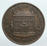 1842 LOWER CANADA Antique Montreal Building HALF PENNY BANK TOKEN Coin i90244