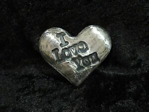 "4.5 Ozt MK BARZ  ""I Love You"" Heart .999 Fine Silver HAND POURED"