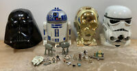 Star Wars Lucasfilm Micro Machines Transforming Heads lot of 4 w/ 18 Accessories