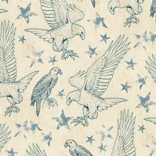 Fabric Wilmington Land of Liberty Eagles Stars Blue Tan Toile  Patriotic BHY