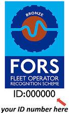 FORS Fleet Operator Recognition Scheme Vinyl Sticker Gold, Silver, Bronze A5