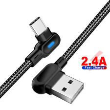 LED Type C 90 Degree USB C Fast Charging Data Sync Cable For Samsung S9 HUAWEI
