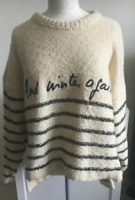 Vintage Sonia Rykiel Inscription Wool Blend Sweaterhigh Low Large Black Cream