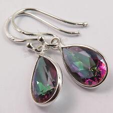 Cute Earrings 925 Solid Sterling Silver Multi-Color MYSTIC QUARTZ Pear Gemstones