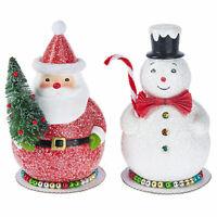 "Set/2 8"" GANZ Jolly Santa Claus Snowman Christmas Figurines Retro Vntg Decor"