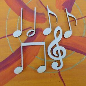 Notenset für Musiker 6 Teile, 42mm hoch aus Holz, Geschenk Deko Wanddeko 4206