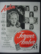 1947 Linda Darnell Cornel Wilde Forever Amber Movie Vintage Print Ad 12570