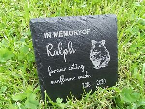 Personalised Engraved Slate hamster Pet Memorial Grave Marker Plaque Gift