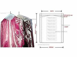 Garment Cover Clear Polythene Dry Cleaner Laundary Clothes Packing 23x72''
