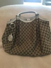 Gucci Large sukey Beige With Leather Trim Shoulder Bag
