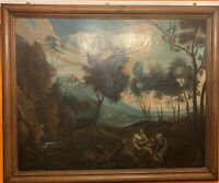 Very old and large antique oil painting