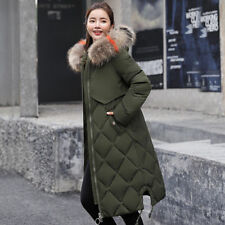 2019 Winter Women long Down Cotton Parka Fur Collar Hooded Coat Quilted Jacket