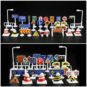 28 Pcs Car Toy Accessories Traffic Road Signs Kids Children Play Learn Toy Game.
