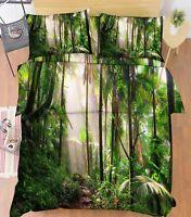 3D Forest Sunshine 66 Bed Pillowcases Quilt Duvet Cover Set Single King UK Lemon
