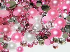 2000 Pink White Flatback Faux Pearls Clear Rose Resin Rhinestones 3/4/5/6/8/10mm