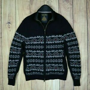 Nautica Mens Vintage Cardigan Knitted Wool Top Size Small Black