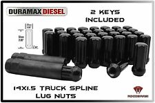 32 PC CHEVY GMC 8 LUG 2500 3500 DURAMAX DIESEL 14x1.5 BLACK SPLINE LUG NUTS