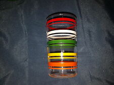 Vintage 5 Stripe Drinking Glass Tumbler Red green yellow orange White Fiesta
