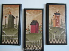 Rustic Wall Decor For Bathroom set 3 primitive country outhouse door signs welcome privy bathroom