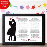 Personalised Keepsake Poem Wife Girlfriend Birthday Anniversary Valentines Gifts