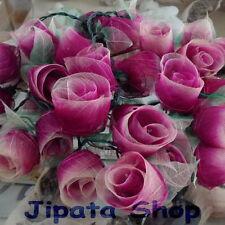 2-tone Magenta Rose Flower RubberLeaf Party-Wedding-Decoration 110V Light String