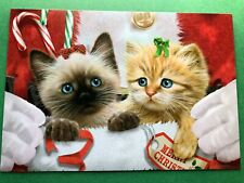Leanin' Tree Christmas Card - Kittens With Santa Theme - ID#579