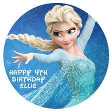 1 x Disney Frozen Elsa 19cm round personalised cake topper edible image
